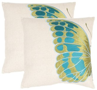 Safavieh Indra Blue Wing Butterfly Pillow, Set of 2