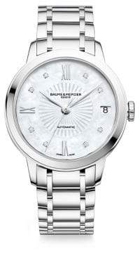 Baume & Mercier Classima Diamond, Mother-Of-Pearl& Stainless Steel Bracelet Watch