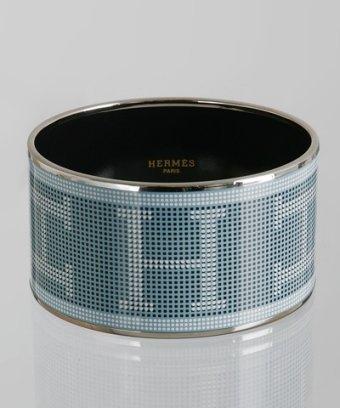 Hermes blue glacier enamel pixelated 'Recherche' wide bangle