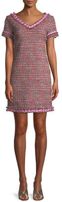 Moschino Flower-Trim Tweed V-Neck Dress