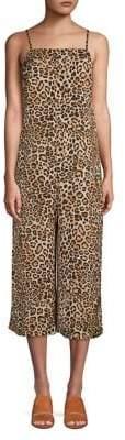 Topshop PETITE Leopard Print Wide Leg Jumpsuit