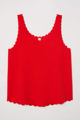 H&M Scallop-edged Tank Top - Red