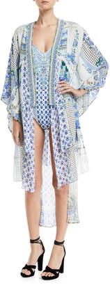 Camilla Open-Front Beaded Silk Kimono Coverup, One Size