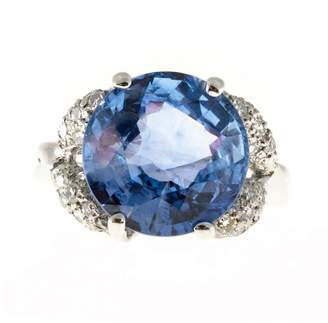 Vintage Platinum with 9.13cts Old Cut Ceylon Sapphire and Pave Round Diamond Ring Size 5
