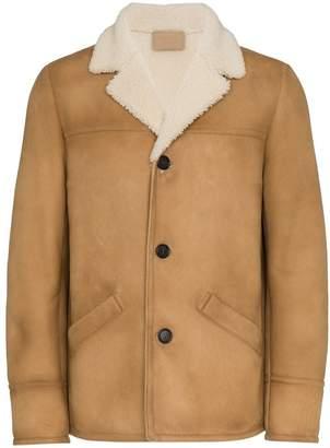 Prada long sleeve shearling single breast jacket