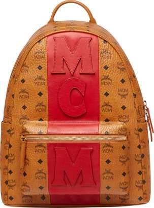 MCM Stark Logo Stripe Backpack In Visetos