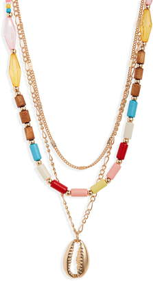 BP Triple Strand Bead & Metal Shell Necklace