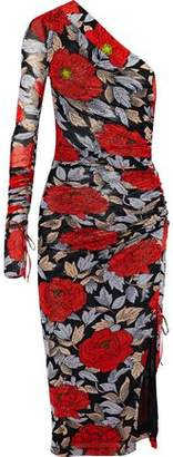 Diane von Furstenberg One-Shoulder Floral-Print Stretch-Jersey Dress