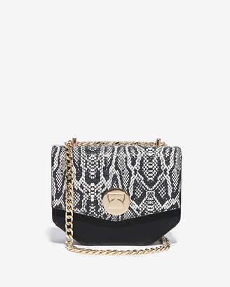 Express Snakeskin Print Turnlock Chain Shoulder Bag