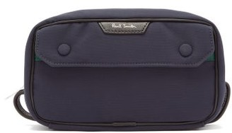 Paul Smith Leather Trimmed Canvas Wash Bag - Mens - Blue