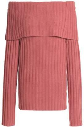 Theory Off-The-Shoulder Ribbed Cashmere Sweater