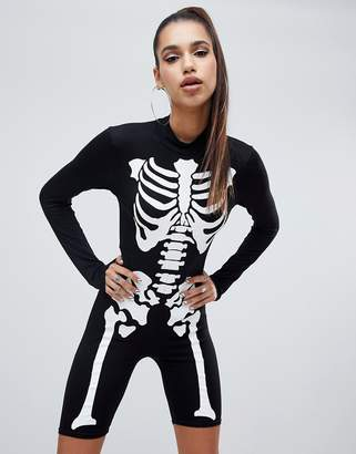 PrettyLittleThing Halloween skeleton unitard in black