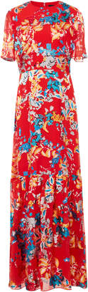 Saloni Lorna Floral-Print Crepe de Chine Dress
