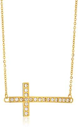 ELYA Jewelry Womens Plated Polished Crystal Sideways Cross Stainless Steel Pendant Necklace