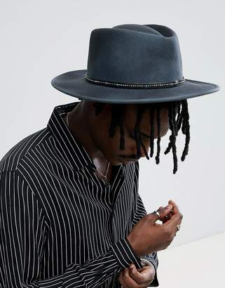Asos DESIGN Pork Pie Hat With Wide Brim In Gray Distressed Finish And Band Interest