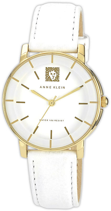Anne Klein Round Leather Strap Watch