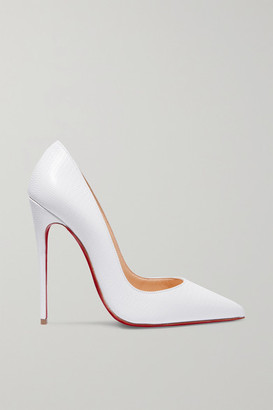 Christian Louboutin So Kate 120 Lizard-effect Leather Pumps - White