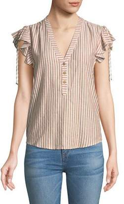 Veronica Beard Blakely Striped Flutter-Sleeve Top