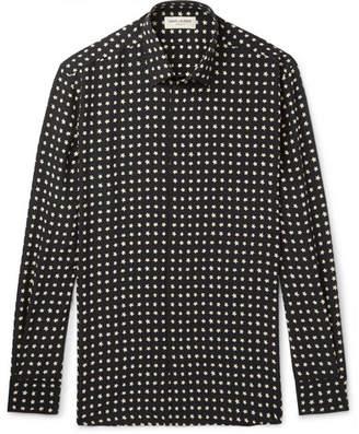 Saint Laurent Slim-Fit Printed Silk Shirt - Black