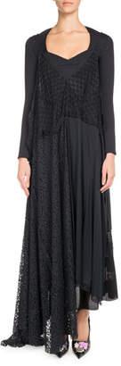 Balenciaga Sleeveless Jersey Wrap Crepe Lace Camisole Dress