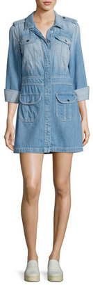 7 For All Mankind Button-Front Denim Shirtdress, Indigo $319 thestylecure.com