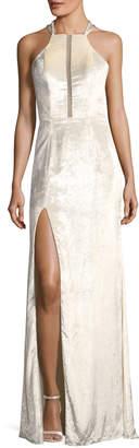 La Femme Metallic Velvet Strappy-Back Gown