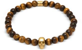 Northskull Yellow Tiger Eye And Gold Atticus Skull Bracelet