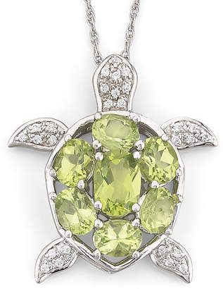 JCPenney FINE JEWELRY Genuine Peridot & White Topaz Turtle Pendant Necklace