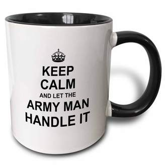 3dRose Keep Calm and Let the Army Man Handle it - fun funny career job pride - Two Tone Black Mug, 11-ounce