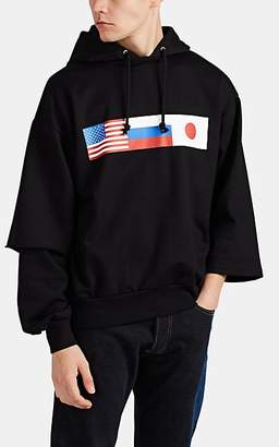 Gosha Rubchinskiy Men's Flag-Print Cotton Oversized Hoodie - Black