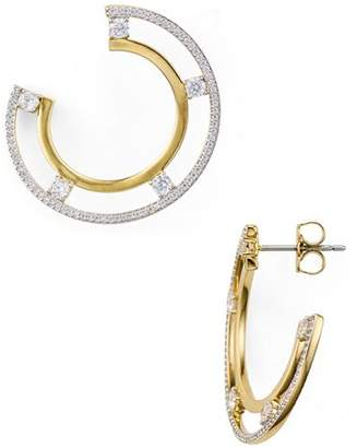 Nadri Trio Two-Tone Offset Hoop Earrings
