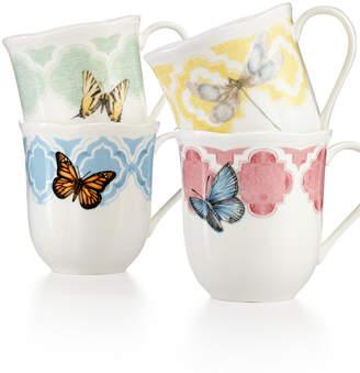 Lenox Butterfly Meadow Trellis Set of 4 Dessert Mugs