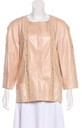 Chanel Leather Tweed-Trimmed Jacket