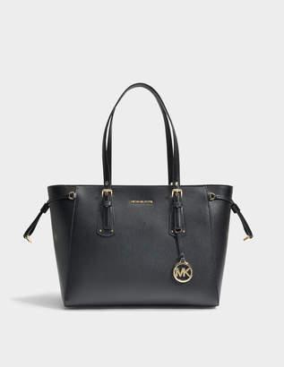 MICHAEL Michael Kors Voyager Medium Top Zip Tote Bag in Black Crossgrain Leather