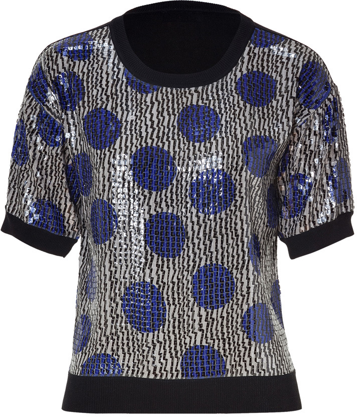 Sonia Rykiel Sonia by Black-Multi Sequined Knit Top