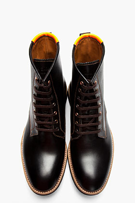 Paul Smith Black etched leather neon-trimmed boots