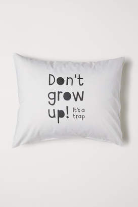 H&M Pillowcase with Printed Text - Gray