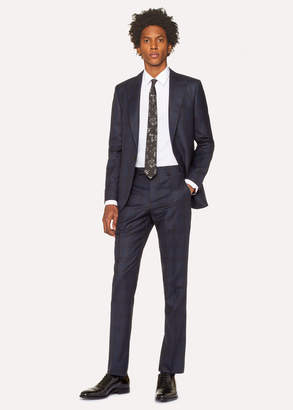 Paul Smith The Soho - Men's Tailored-Fit Navy And Burgundy Check Wool Suit