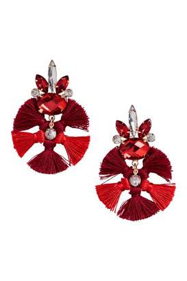 H&M Tasseled Earrings - Red - Women