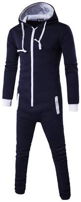 FANTIGO One Piece Men's Onesie Pajama Non Footed Zip Up Adult With Hoodie Jumpsuit Playsuit Blue XL