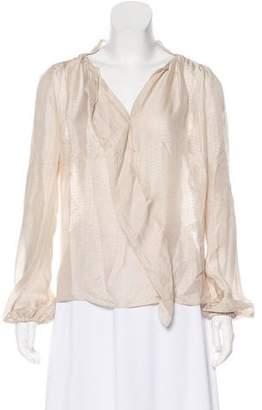 By Malene Birger Silk Chiffon Long Sleeve Blouse