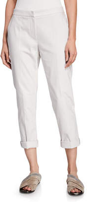 Brunello Cucinelli Cotton-Twill Zip-Front Cigarette Pants