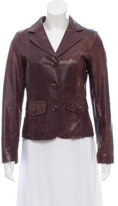 Calvin Klein Collection Distressed Leather Blazer