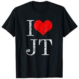 I Love JT Heart Funny JT Text Vintage Retro Gift T-Shirt