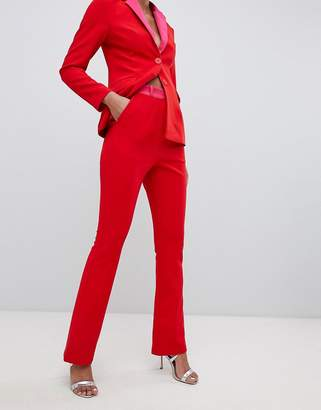 Little Mistress contrast cigarette pants in pomegranate