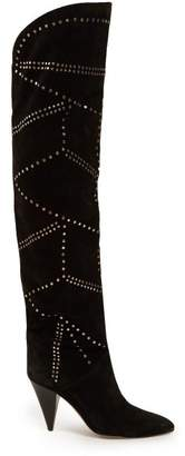 Isabel Marant Ladra Studded Suede Over The Knee Boots - Womens - Black