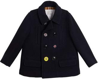 Burberry TEEN Painted Button Wool Pea Coat