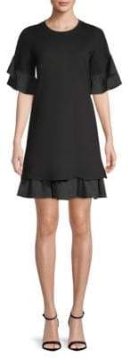 DAY Birger et Mikkelsen Kobi Halperin Knit Flounce-Sleeve Pleated Shift Dress
