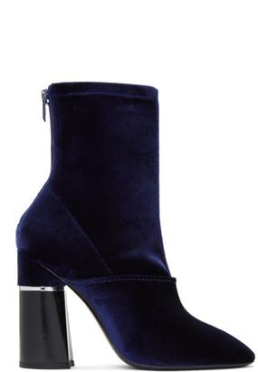 3.1 Phillip Lim Blue Velvet Kyoto Boots $695 thestylecure.com