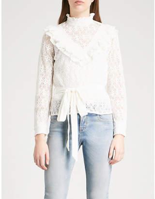 Maje Limba frilled-collar lace top